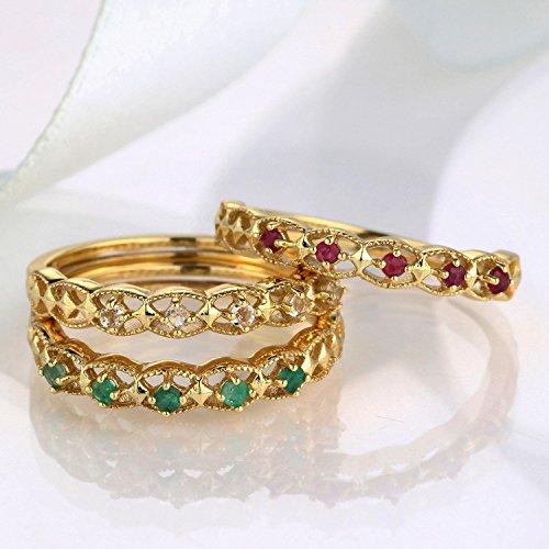 Erica 925 en argent sterling plaqué or 18 carats cristal blanc / rubis / émeraude anneau taille réglable Birthstone 3