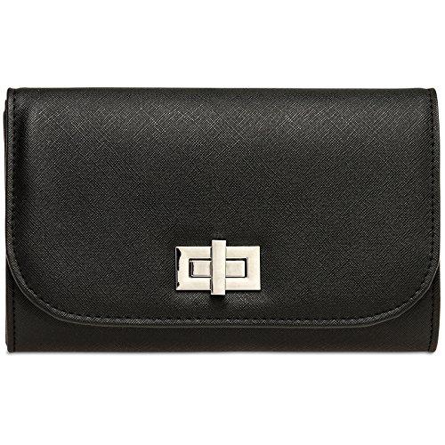 CASPAR TA389 elegante Damen Envelope Clutch Tasche/Abendtasche mit langer Kette und Drehverschluss, Farbe:schwarz;Größe:One Size - Schwarz Metallic Tasche Handtasche