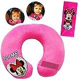 alles-meine GmbH 2 TLG. Set _ Nackenkissen / Nackenrolle & Gurtpolster __  Disney Minnie Mouse  - incl. Name - Kissen für Auto / Gurtschoner - Autoschale - Kindersitz - Reis..