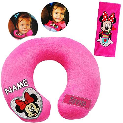 Unbekannt 2 TLG. Set _ Nackenkissen / Nackenrolle & Gurtpolster __  Disney Minnie Mouse  - incl. Name - Kissen für Auto / Gurtschoner - Autoschale - Kindersitz - Reis..
