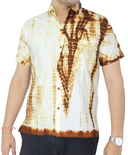 LA LEELA Strand Hawaiihemd Herren XS - 5XL Kurzarm Front-Tasche Hawaii-Print Casual Button Down Hemd Senf Senf