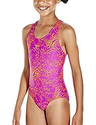 Speedo Girls Boom Allover Splashback Swimsuit - Pink / Orange