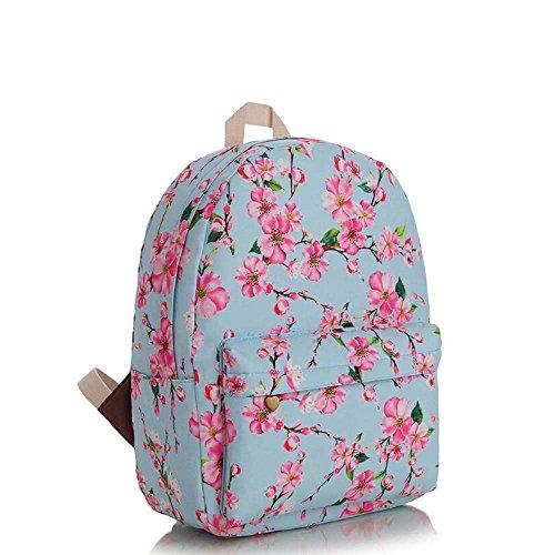 OUFLY Deep Blue & Plum Flower Vintage bedruckte Blumensegeltuch Rucksack Schule Laptop Tasche Outdoor Knapsack Tasche für Frauen Mädchen Jugend Hellblau & Pflaume Blume