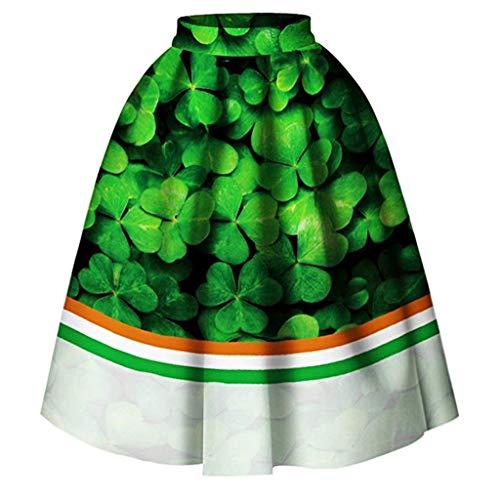 IZHH St Patrick Tag Rock Klee Gedruckt Plissee Ausgestellt Midi Tutu Kleeblatt Mit Herz Mode Frauen St Patrick\'s Day Kleid GrüNe Damen Kleider(Grün-1,X-Large)