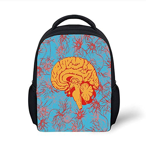 Kids School Backpack Surrealistic,Human Brain Penetrated by Neural Communications Artistic Graphic Decorative,Red Marigold Sky Blue Plain Bookbag Travel Daypack Bright Red Communications