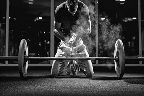 Fitness Hantel Langhantel Training XXL Wandbild Kunstdruck Foto Poster P0625 Größe 90 cm x 60 cm, Größe 90 cm x 60 cm