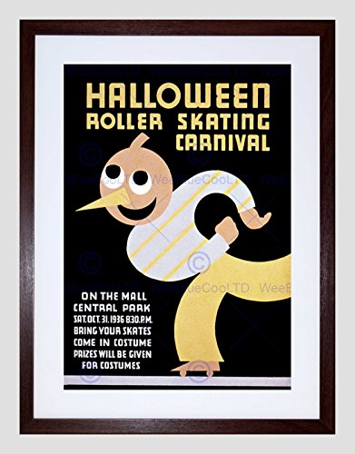 HALLOWEEN CHICAGO USA VINTAGE FRAMED ART PRINT B12X2828 (Halloween-chicago)