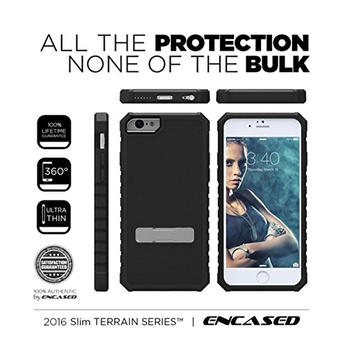 iPhone 6 PLUS 6S PLUS Tough Case, [Terrain Series] Slim Profile Rugged Cover with Steel Kickstand (Encased® Lifetime Warranty) **New 2016 Release** (Jet Black) Jet Black