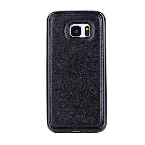 Custodia Galaxy S7 Edge, ISAKEN Cover per Samsung Galaxy S7 Edge, Galaxy S7 Edge Flip Cover con Strap, Elegante 2 in 1 Custodia in Sintetica Ecopelle Sbalzato PU Pelle Protettiva Portafoglio Case Cove Ragazza: nero