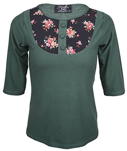 Küstenluder SEASON Vintage ROSES Floral Dots 50s SHIRT Gr Rockabilly Tannengrün