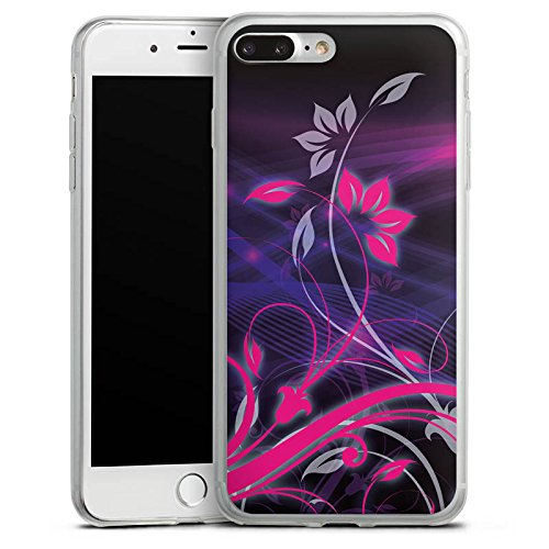 Apple iPhone 8 Plus Slim Case Silikon Hülle Schutzhülle Blumen Ornamente Floral Silikon Slim Case transparent