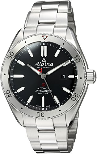 Alpina Men's 'Alpiner 4' Swiss Automatic Stainless Steel Casual Watch, Color:Silver-Toned (Model: AL-525BS5AQ6B)