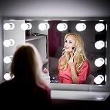 My Dari Light Hollywood Spiegel Theaterspiegel Spiegel mit glühbirnen schminkspiegel (Spiegel 100x60cm mit 4,5cm Lampen & 20 mm Facettenschliff)