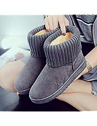 JUWOJIA Las Mujeres Botas De Nieve Moda Invierno Mantenga Caliente Y Zapatos De Terciopelo,Gris,38
