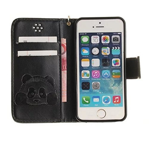 Etsue Handytasche für iPhone 7 (4.7 Zoll) 2016 lila, Brieftasche Hülle für iPhone 7 (4.7 Zoll) 2016 [Mädchen Schmetterling] Muster Lederhülle Handyhülle Einzigartig Flip Hülle Leder Schutzhülle Vintag Karikatur Panda,schwarz