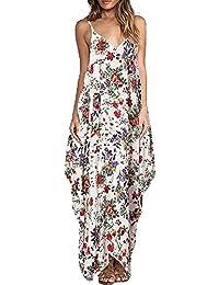 adec9ccc9e6a Vestito Lungo Abito Donna Eleganti Scollo a V Casual Tasche Dress Spalline  Sottili Boho Fiore Stampato