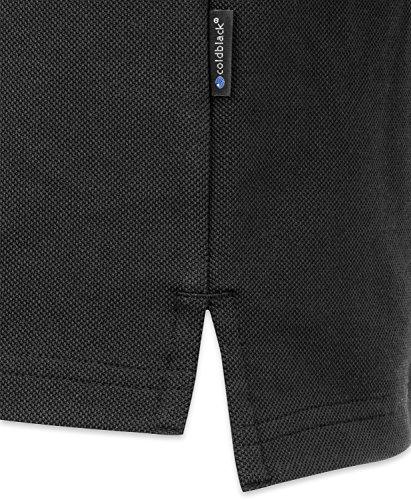 agon Herren Poloshirt Pique Bügelfrei, Atmungsaktiv, Wärmeblocker, UV-Schutz, Geruchsblocker, Antibakteriell Schwarz / Black