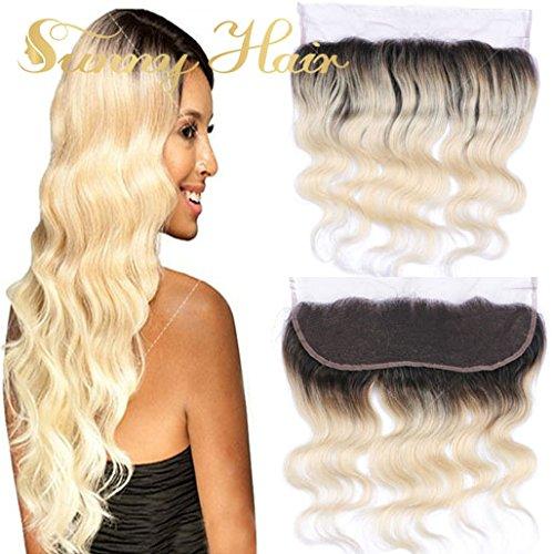 Sunny Ombre Noir a Blonde Lace Frontal Closure Ondule Cheveux 16 Pouces Remy Closure Frontale Cheveux Naturel