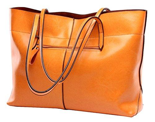 SAIERLONG Nuovo Donna Marrone Vera Pelle Borse Tracolle Arancione