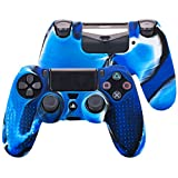 Pandaren STUDDED silicone cover skin anti-slip for PS4/ SLIM/ PRO controller x 1(camouflage blue) + FPS PRO thumb grips x 8