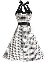 Dresstells, Version3.0 Vintage 1950's Audrey Hepburn pin-up robe de soirée cocktail, style halter années 50 à pois