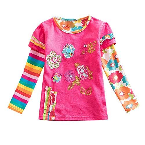 Yazidan Kleinkind-Baby-Kind-Mädchen- Langarmshirt Blumenstreifen-Regenbogen-Druck-Pullover übersteigt Kleidung\n