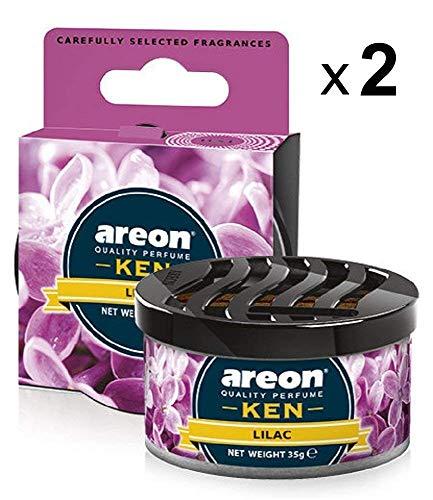 Areon ken deodorante auto lilla fiore ambiente profumatore contenitore scatola originale profumo interni casa 3d ( lilac set x 2 )