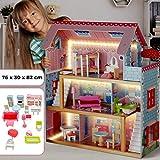 Infantastic Casa delle Bambole in Legno - 76x30x82cm, 3 Livelli di Gioco, 16 Accessori e Mobili Inclusi, 5 Stanze, per Bambole di 13 cm - Casetta per Bambole, Casa Barbie Miniatura