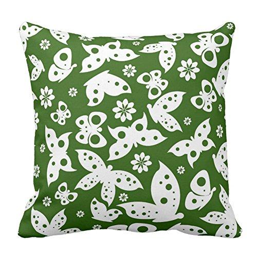 Forest grün und weiß Blume Schmetterling Muster Werfen Kissen Fall Kissenbezug Dekorative Home Decor, Colors, 18x18 Inch -