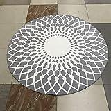 Morbuy Tapis Rond Lavable Rayure Géométrie 80x80cm Interieur Anti Slip Chambre à...