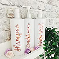 White And Rose Gold Refillable Reusable Personalised Pump Dispenser Bottles For Shampoo, Conditioner, Body Wash. Mrs Hinch Inspired.