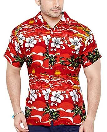 CLUB CUBANA Men's Polyester Slim Fit Classic Short Sleeve Floral Hawaiian Shirt (Red, Small)