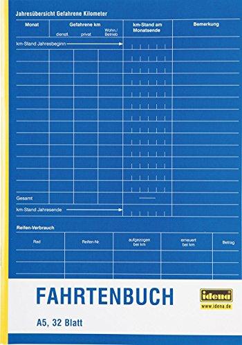 Idena 314251 - Fahrtenbuch, DIN A5 doppelseitig bedruckt, holzfreies Papier, 32 Blatt