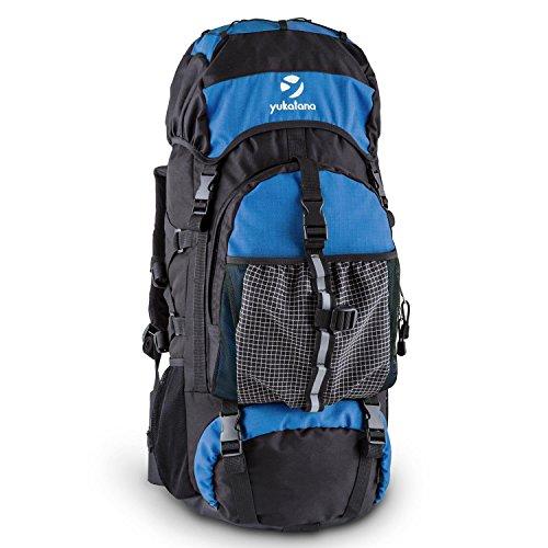Yukatana Thurwieser Travel- Backpacker- Reise- u. Trekking-Rucksack (55 Liter, wasserfestes Nylon, inkl. Regenhülle, Rückenpolsterung, 2 große Reißverschlussfächer, Seitentaschen, Netz, verstärkter Rücken und Boden)