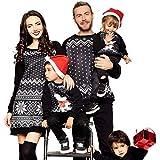 POLP Niño niña Ropa Mamá papá Disfraz Navidad Bebe Traje Familiar Regalo Madre e Hijo casa Pijamas Familiares Disfraces Navidad Bebe Invierno Mujer Vestidos Fiesta Negro Copo de Nieve