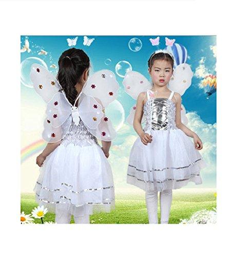 Matissa Kinder Mädchen 4 Stück Komplette Schmetterling Kostüm Set Fee Schmetterlingsflügel Alice Stirnband Tutu Kleid und Zauberstab (Weiß)