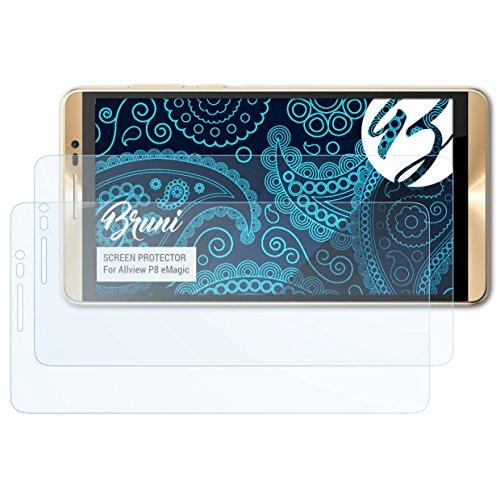 Bruni Schutzfolie für Allview P8 eMagic Folie, glasklare Bildschirmschutzfolie (2X)