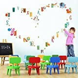 Alphabet multicolore - Design français - Sticker mural (Muraux Décoration Murale Stickers Wall Decal Autocollants Salon Chambre d'enfants Nursery Made in Germany)