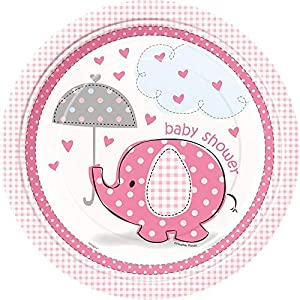 Unique Party- Platos de Papel Baby Shower con Elefante, 8 Unidades, Color rosa, 23 cm (41655)