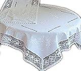 wunderschöne Tischdecke 130x170 cm eckig edler Stil tolle BAUMWOLLoptik HÄKELSPITZE weiß BAUERNDECKE Landhaus (Tischdecke 130x170 cm rechteckig)