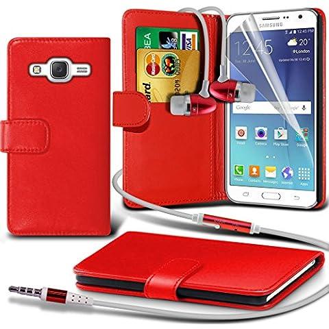(Red) Samsung Galaxy J5 specificamente progettati a libro Ecopelle caso del basamento del raccoglitore con (Telefono Guardia Schermo Custodia In Silicone)