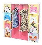 Kinder Kleiderschrank Garderoben Flur Schrank Badschrank Hoch Regal in Pink mit süßen Motiven