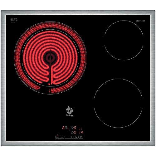 Balay 3EB715XR - Placa de cocina vitrocerámica de 60 cm de ancho, marco de acero inoxidable, 3 zonas...