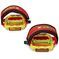 lgking supply - Lote de pedales con correas para bicicleta BMX, color rojo