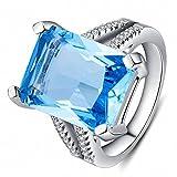 HOX Anillo de Circón de Piedras Preciosas con Incrustaciones de Piedras Anillo de Aguamarinas de Topacio Platino Plateadas, Azul, 8