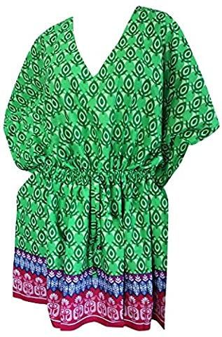 La Leela Beach Cover ups Dresses Swimsuit Blouse Caftan Bikini Bathing Resortwear Gifts Kaftan Tops Tunic For Women's 100% Cotton Printed Plus Size Drawstring Green Gift Spring Summer