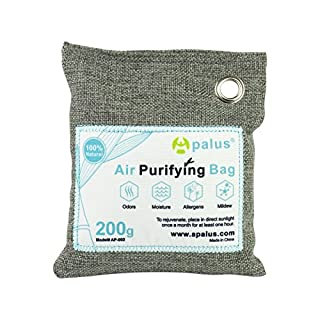 Apalus Air Purifying Bag, Bamboo Activated Charcoal Air Freshener, Car Air Dehumidifier, Deodorizer and Purifier Bags-100% Natural & Chemical Free Moisture, Odor Absorber, 200G