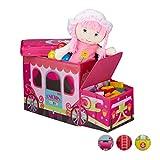 Relaxdays Sitzhocker Kinder, Faltbare Spielzeugkiste mit Fach, Einhorn, Stauraum, Jungen und Mädchen, 50 Liter, pink