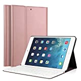 iPad 5/6/iPad 9.7' 2017 Clavier cas, LUCKYDIY Ultra Slim + couvercle du support Magnetical détachable clavier sans fil Bluetooth pour Apple iPad Air1 / Air2 / nouvel iPad 9,7 pouces 2017 (iPad 5/6/8, Or rose)