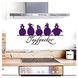 Grandora Wandtattoo Topfgucker 5 Vögel I violett 58 x 27 cm I Küche Spruch Zitat Aufkleber selbstklebend Wandaufkleber Wandsticker W862